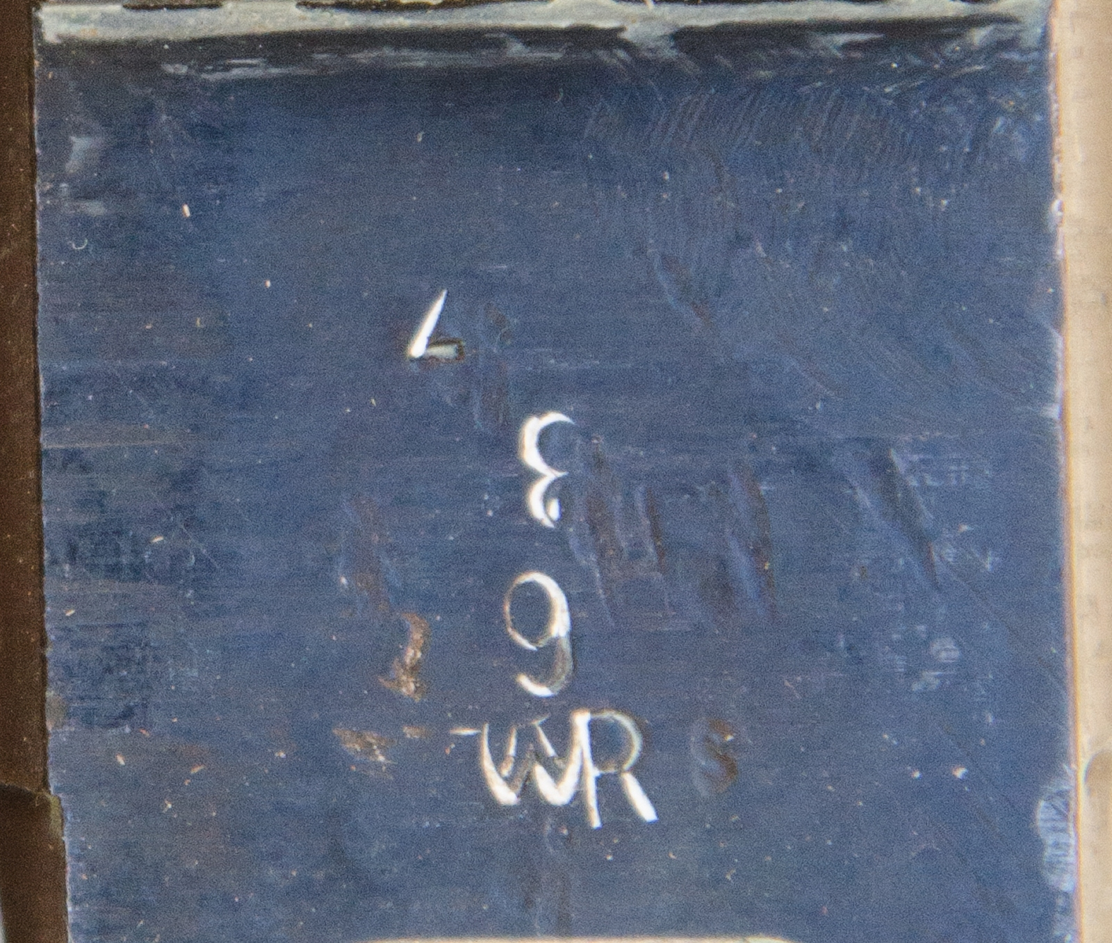 receiver underside detail showing the WR logo