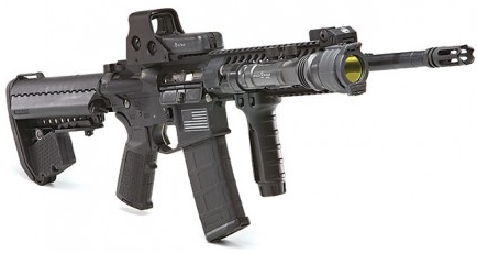 The AR-15, a popular military weapon known as the M4 and owned by many civilians, ranks fifth most popular of all weapons