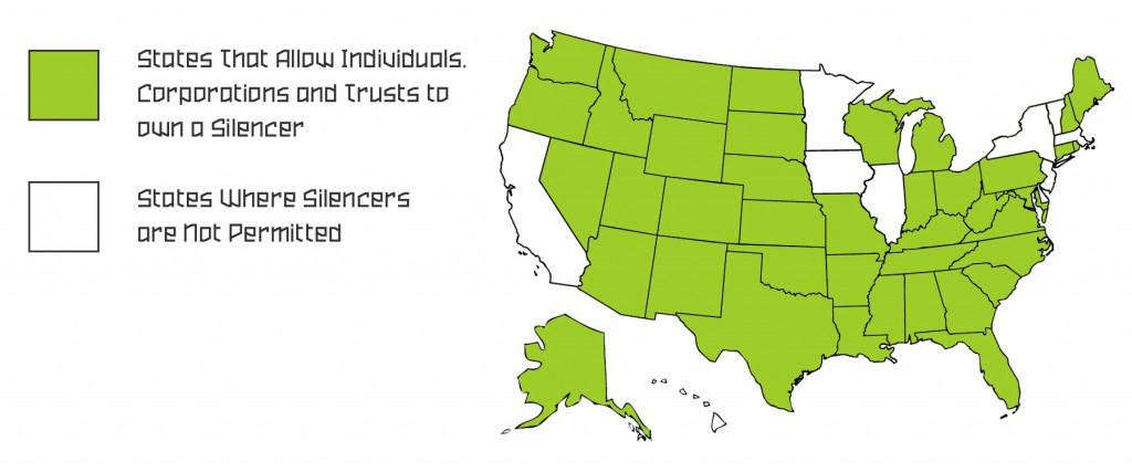 United States Map showing what states allow individuals to own a silencer