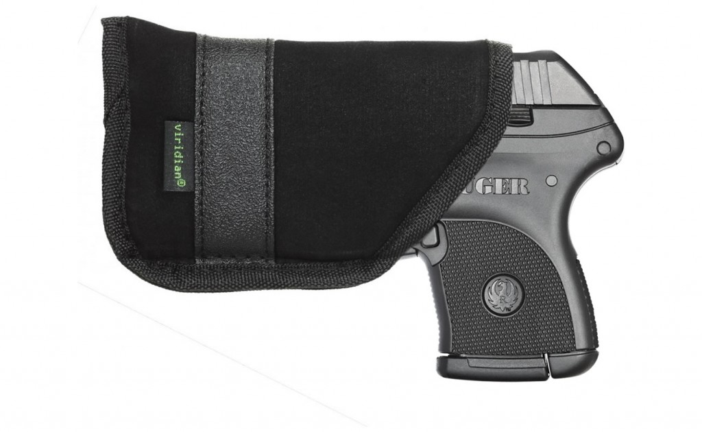 Ruger LCP .380ACP with Viridian Green Laster shown in pocket holster