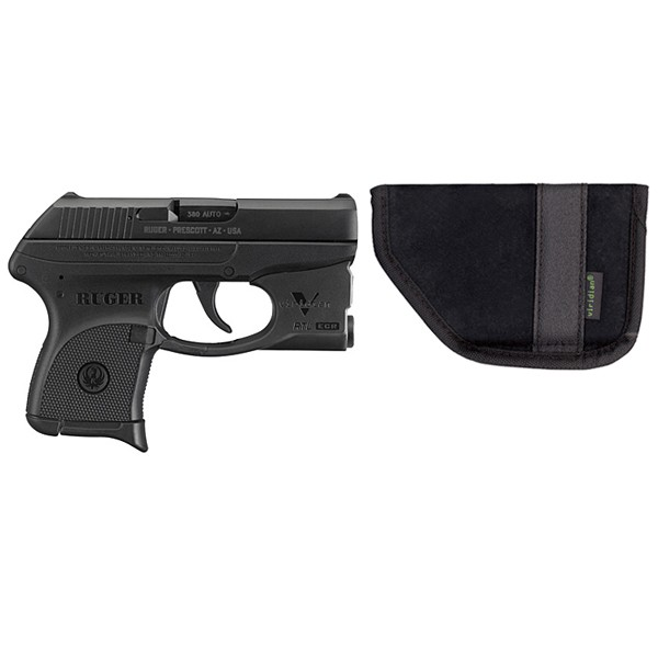 Ruger LCP .380ACP with Viridian Green Laster show with pocket holster