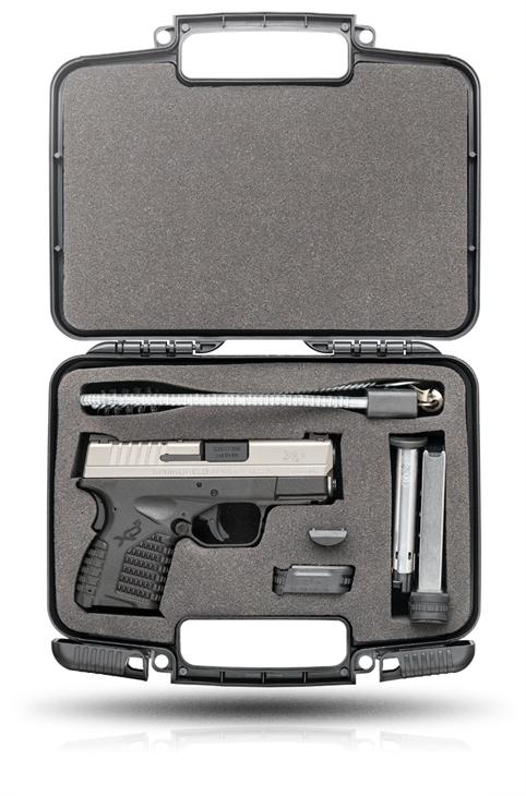Springfield Armory XD-s .45ACP concealed carry in hard plastic lockable case, two magazines, bore brush, lock, manual, and second backstrap