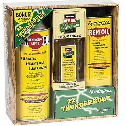 100th Anniversary Remington REM OIL and bonus 150 rounds of .22LR Thunderbolt