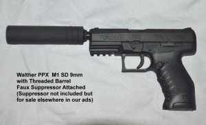 Walther PPX M1SD 9MM shown with faux suppressor on threaded barrel