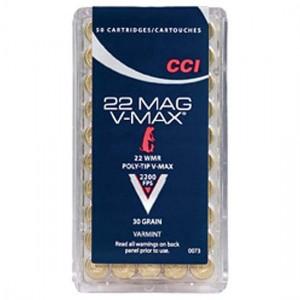 CCI .22 WMR Magnum Ammo Varmint  Poly-Tip V-Max 30 Grain 50 Round