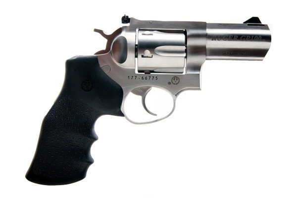 "Ruger GP100 Stainless Steel .357 Magnum with 3"" barrel and Hogue grip"