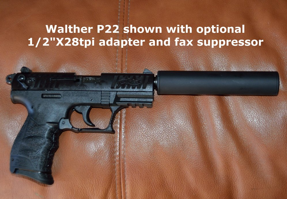 Walther P22 with optional thread adapter and faux suppressor