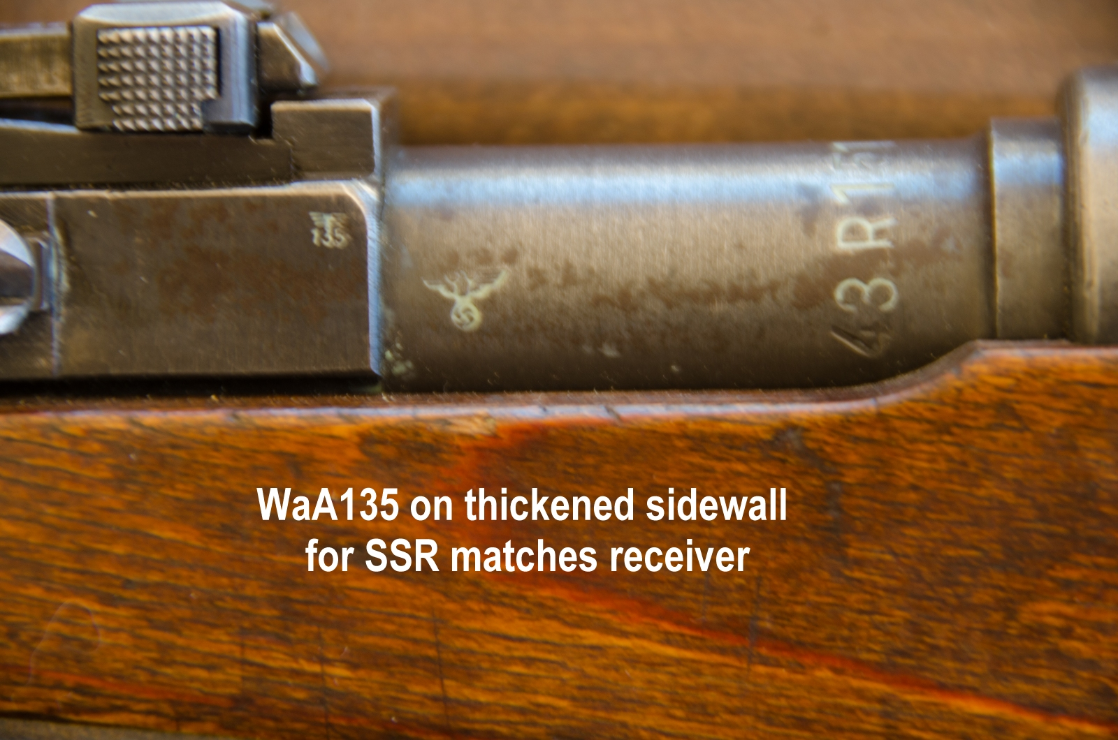 side of barrel showing matching WaA135