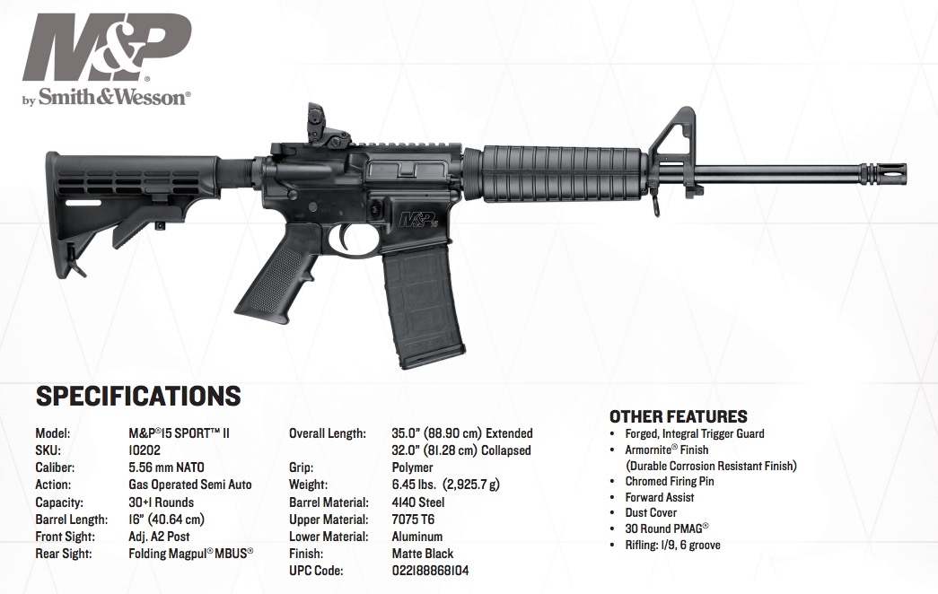 S&W M&P-15 Sport II AR-15 5.56/223 Magpul NEW
