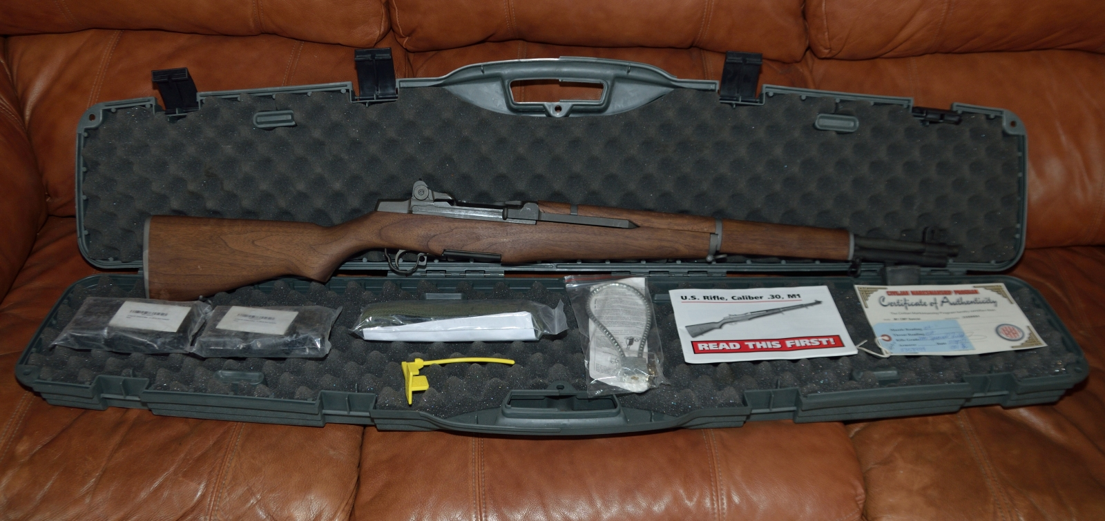 M1 Garand in CMP hardcase with paperwork and accessories