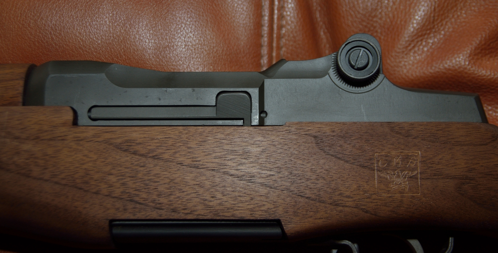 M1 Garand left side of receiver showing CMP Cartouche