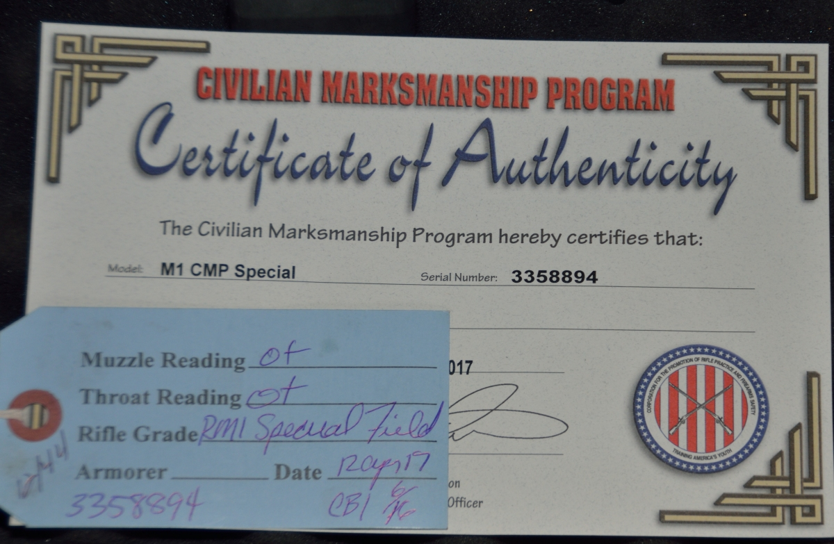M1 Garand Certificate of Authenticity from CMP