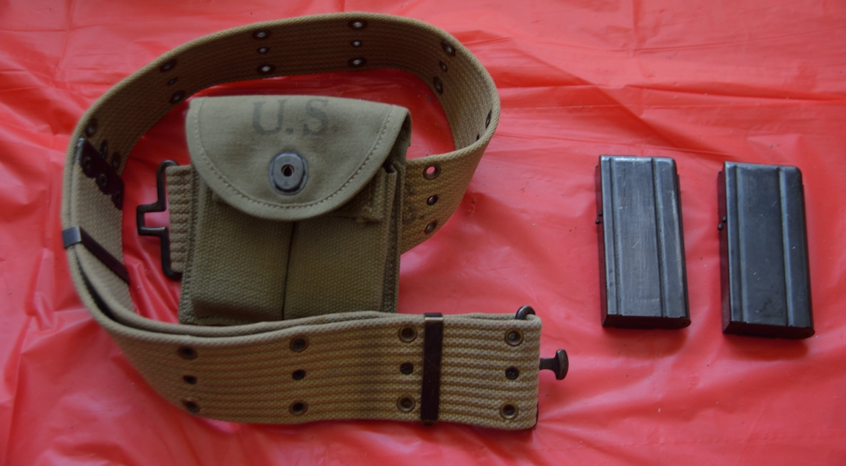 WWII web belt with carbine mag pouch and two 15rd mags