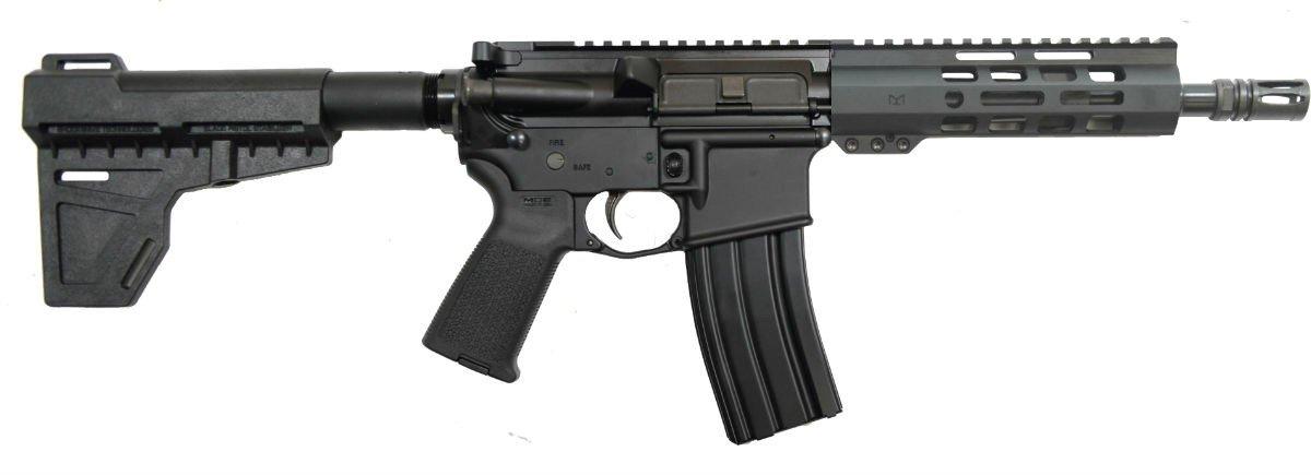 """8.5"""" Pistol-length 5.56 NATO 1/7 Nitride 7"""" Lightweight M-Lok Classic Shockwave Pistol"""