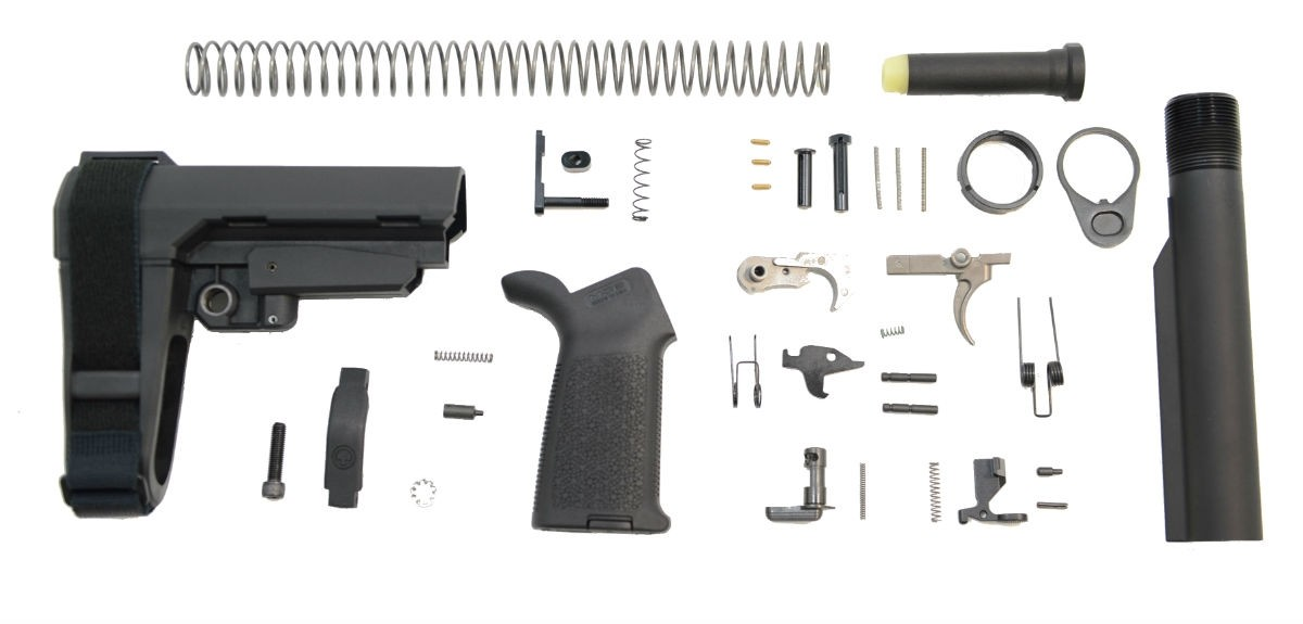 SBA3 MOE EPT AR-15 PISTOL LOWER BUILD KIT, BLACK