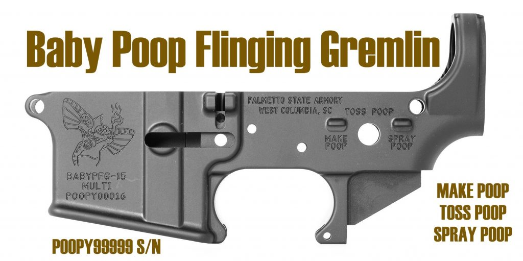Baby Poop Flinging Gremlin Stripped AR-15 Lower