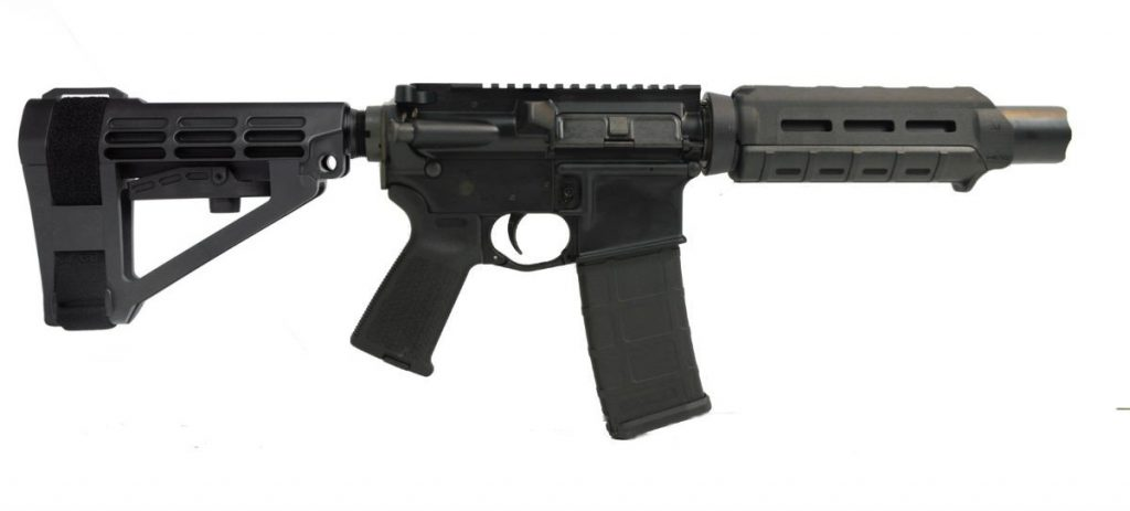 "7"" AR-15 with SBA4 brace and flash can"