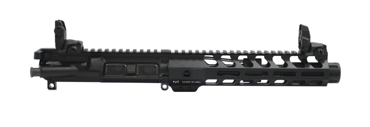 "7"" 5.56 1/7 Nitride 9"" Lightweight M-Lok Freedom Upper Fluted Flash Can, BCG, CH, & MBUS Sight Set"