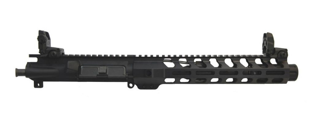 "PSA 8.5"" PISTOL LENGTH 5.56 1:7 10.5"" LIGHTWEIGHT M-LOK UPPER W/ FLUTED FLASH CAN & MBUS SIGHTS"