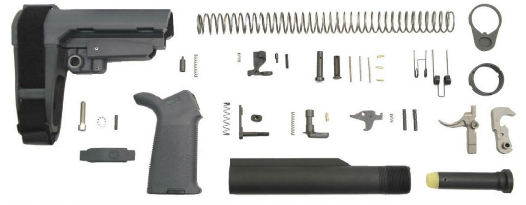 SBA3 MOE EPT PISTOL LOWER BUILD KIT, GRAY