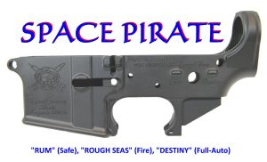 "AR-15 ""SPACEPIRATE-15"" STRIPPED LOWER RECEIVER"
